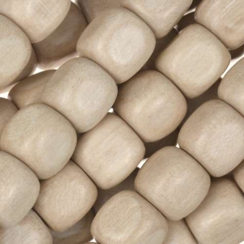 White Wood Natural Bead Cube 10mm - strand