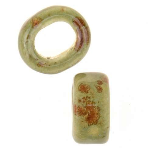 Clay River Porcelain Slider Oval Large Hole 10mm - Green Agate