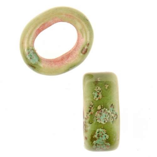 Clay River Porcelain Slider Oval Large Hole 10mm - Pagoda Green
