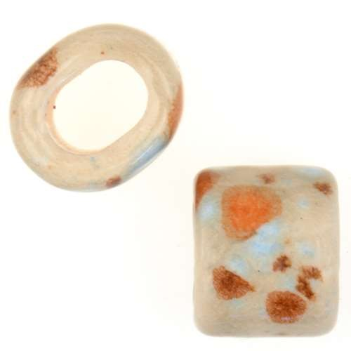 Clay River Porcelain Slider Oval Large Hole 15mm - Caribbean Sand