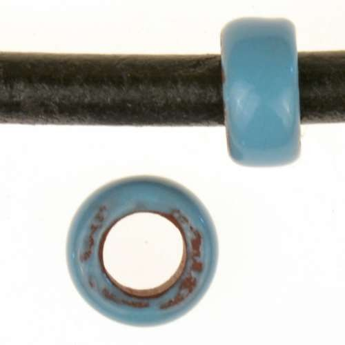 Clay River Porcelain Bead Pony Large Hole - Turquoise