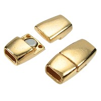 5mm Flat Tapered Leather Cord Magnetic Clasp - Gold