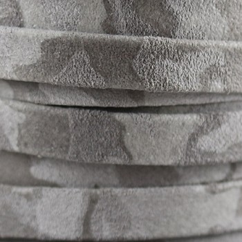 Flat Camo Suede 10mm Leather - Grey - per inch