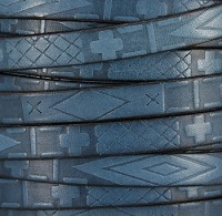 10mm flat South Western Deco leather BLUE
