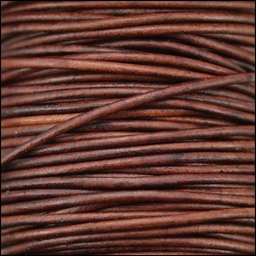 0.5mm Round Indian Leather Cord - Red Brown Natural Dye - per yard
