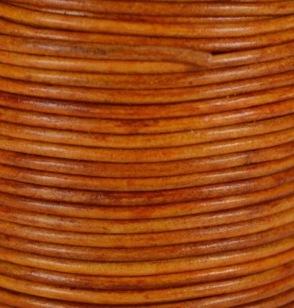 1.5mm Round Indian Leather Cord - Natural Medium Brown