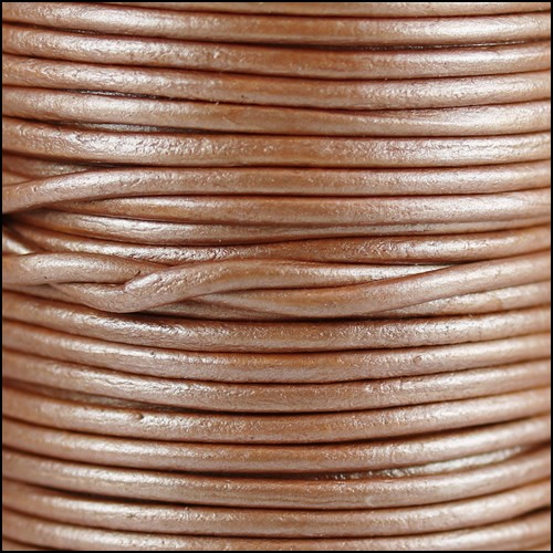 1.5mm Round Indian Leather Cord - Metallic Musk