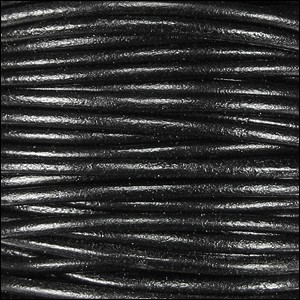 1.5mm Round Indian Leather Cord - Shiny Black Natural Dye - per yard