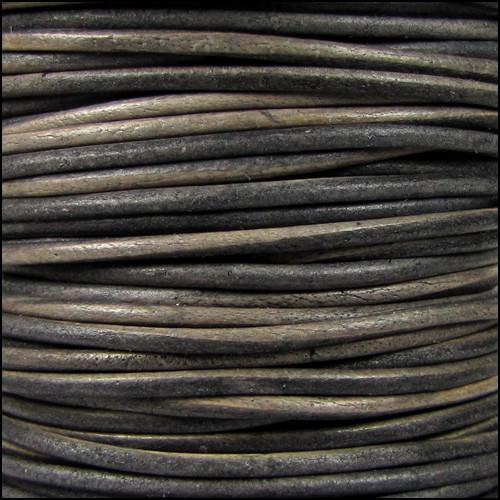 1.5mm Round Indian Leather Cord - Grey Brown Natural Dye - per yard