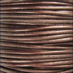 1.5mm Round Indian Leather Cord - Metallic Tamba - per yard