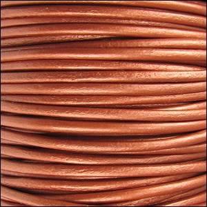 1.5mm Round Indian Leather Cord - Metallic Dusty Brown - per yard