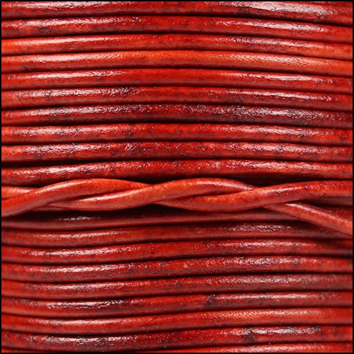 1.5mm Round Indian Leather Cord - Natural Red - per yard