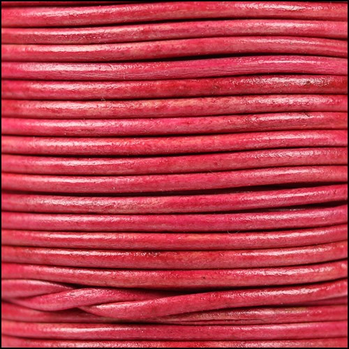 1.5mm Round Indian Leather Cord - Natural Cerise - per yard