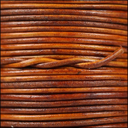 1.5mm Round Indian Leather Cord - Natural Light Brown - per yard