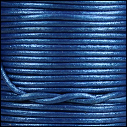 1.5mm Round Indian Leather Cord - Metallic Sapphire - per yard
