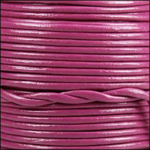 1.5mm Round Indian Leather Cord - Mulberry - per yard