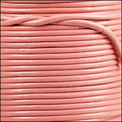 1.5mm Round Indian Leather Cord - Baby Pink - per yard