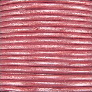 1.5mm Round Indian Leather Cord - Metallic Dusty Pink - per yard