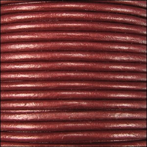 1.5mm Round Indian Leather Cord - Metallic Deep Cherry - per yard