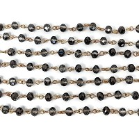 6MM Crystal Smokey Black Beading Chain