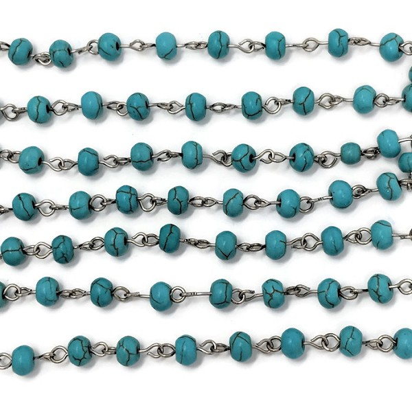 6MM Gemstone Turquiose Howlite Beading Chain