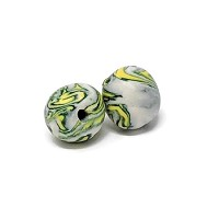 Polymer Clay Round Bead - Green/Yellow