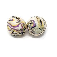 Polymer Clay Round Bead - Purple/Navy