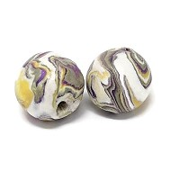 Polymer Clay Round Bead - Purple/Yellow