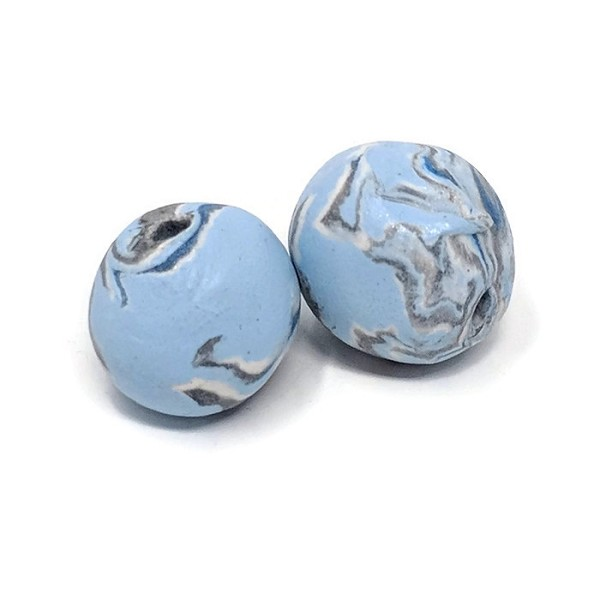 Polymer Clay Round Bead - Silver/Blue
