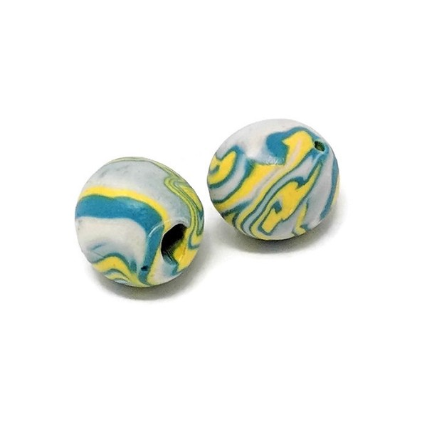 Polymer Clay Round Bead - Turquiose/Yellow