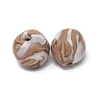 Polymer Clay Round Bead - Tan
