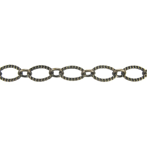 Etched Oval Link Chain - Antique Brass