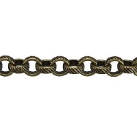 rolo etched lines chain  ANT. BRASS per foot