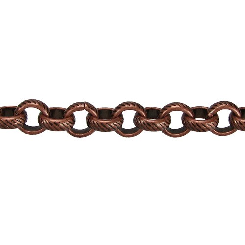 rolo etched lines chain  ANT. COPPER