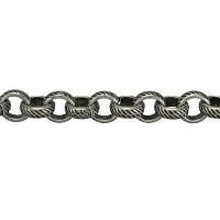 rolo etched lines chain  ANT. SILVER per foot