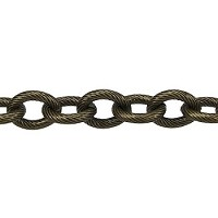 etched med heavy cable chain  ANT. BRASS per foot