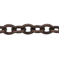 etched med heavy cable chain  ANT. COPPER per foot