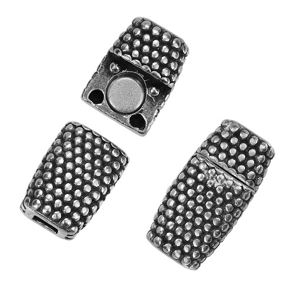 3mm DOTS Flat Leather Cord Magnetic clasp ANTIQUE SILVER