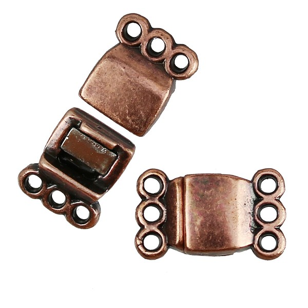 3 Loops Magnetic Clasp per 10 pieces - Antique Copper