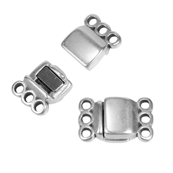 3 Loops Magnetic Clasp per 10 pieces - Antique Silver