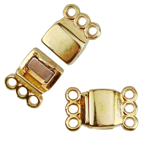 3 Loops Magnetic Clasp per 10 pieces - Gold