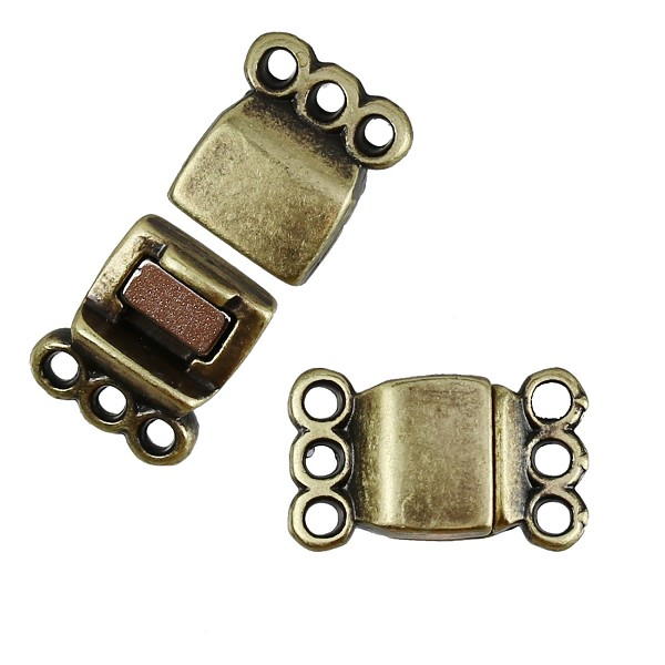 3 Loops Magnetic Clasp per 10 pieces - Antique Brass