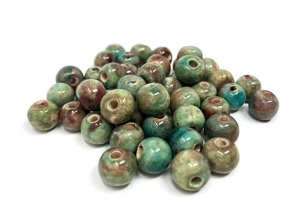 Claycult 8mm Round Ceramic Bead - Ablaze Egyptiain Green