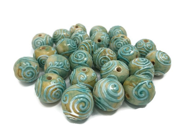 Claycult 14mm Round Ceramic Bead - Khmer Spiral Turquoise