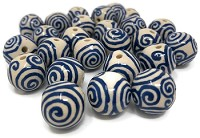 Claycult 14mm Round Ceramic Bead - Ivory with Blue Spirals
