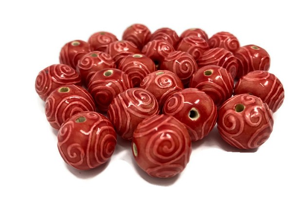 Claycult 14mm Round Ceramic Bead - Red Spirals