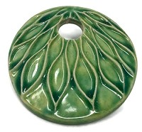 Claycult 55mm Lotus Ceramic Pendant - Egyptian Green