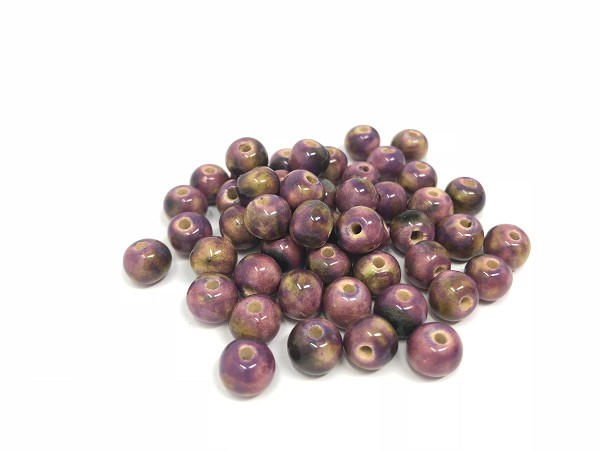 Claycult 6mm Round Ceramic Bead -  Deep Rose Mix Royal