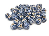 Claycult 8mm Round Ceramic Bead - Ivory with Blue Spirals