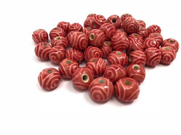 Claycult 8mm Round Ceramic Bead - Red Spirals